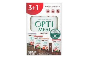 Корм влажный для взрослых кошек Multi Taste Optimeal к/у 4х85г