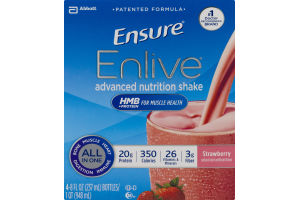 Ensure Enlive Advanced Nutrition Shake Strawberry - 4 CT