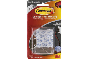 Command Cord Organization Large Organizer Clear - 2 CT