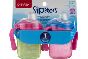 Playtex Sipsters Stage 1 Spill-Proof Soft Spout Training Cups - 2 CT