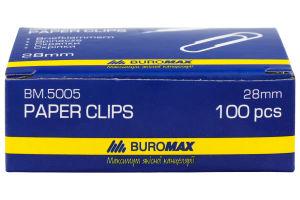 Скріпки нікельовані BuroMax круглі 28мм 100шт