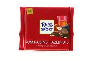 Шоколад с ромом изюмом и орехами Ritter Sport 100г