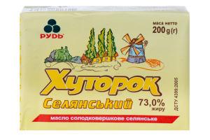Масло 73% сладкосливочное крестьянское Селянский Хуторок Рудь м/у 200г