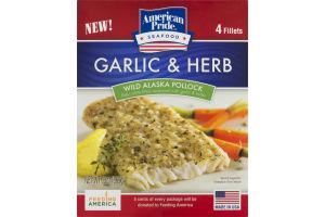 American Pride Seafood Garlic & Herb Wild Alaska Pollock Fillets - 4 CT