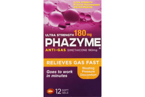 Phazyme Ultra Strength 180mg Anti-Gas Soft Gels - 12 CT
