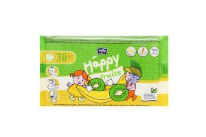 Салфетки влажные с ароматом банана и киви для детей от 2лет Happy Baby Bella 30шт
