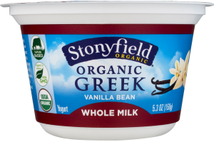 Stonyfield Organic Greek Whole Milk Yogurt Vanilla Bean