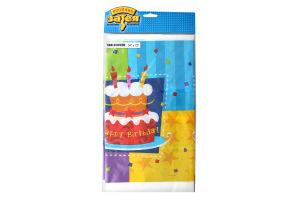 Скатерть 140х180см №1502-0708 Торт Birthday Веселая затея 1шт