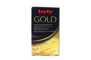 Полоски восковые для депиляции лица Gold Byly 10шт