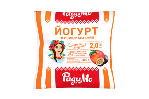 Йогурт 2% Персик-маракуйя РадиМо м/у 400г