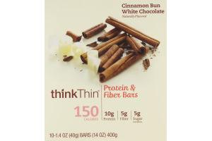 thinkThin Protein & Fiber Bars Cinnamon Bun White Chocolate - 10 CT