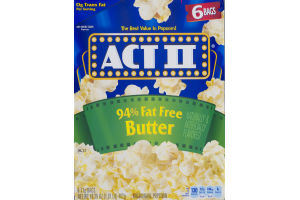 ACT II Microwave Popcorn 94% Fat Free Butter - 6 CT