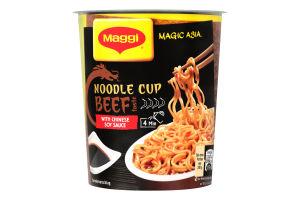 Вермишель быстрого приготовления со вкусом говядины и соевым соусом неострая Magic Asia Maggi ст 63г