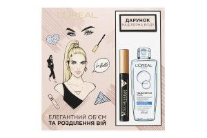 Набір косметичний Туш для вій Carbon Black+Вода міцелярна L'Oreal Paris 1шт