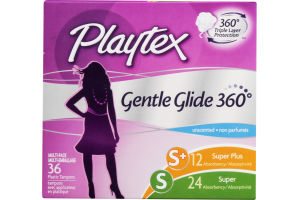 Playtex Plastic Tampons Gentle Glide 360 Multi-Pack Super Plus/Super Unscented - 36 CT