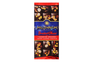 Шоколад чорний з мигдалем, цілими лісовими горіхами, апельсиновими цукатами та родзинками «Millennium Fruits&Nuts» 80 г
