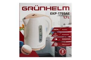 Електрочайник GRUNHELM EKP-1799AЕ пластиковий (бежевий) NEW 1,7 л, 2200 Вт, дисковий нагрівальний елемент