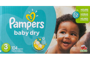 Pampers Baby Dry Diapers Size 3 - 104 CT