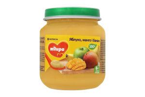 Пюре для дітей від 6міс Яблуко, манго і банан Milupa с/б 125г
