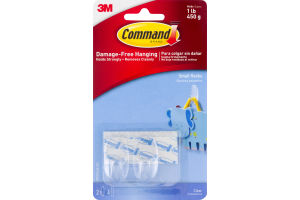 Command Damage-Free Hanging Small Hooks Clear - 2 CT