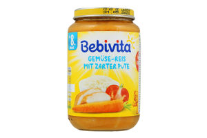 М'ясо-овочеве пюре «Овочі та рис з ніжною індичкою» Bebivita, 220 г