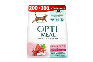 OPTIMEAL™. Повнораціонний сухий корм для дорослих котів з високим вмістом телятини (200+200), 0,4 кг