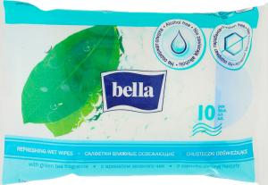 Серветки Bella вологі освіжаючі з аром.зел.чаю 10шт. х6