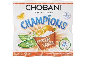 Chobani Champions Orange Vanilla Low-Fat Greek Yogurt - 4 CT