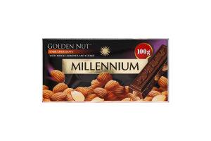 Шоколад чорний з цілим мигдалем Golden Nut Millennium к/у 100г
