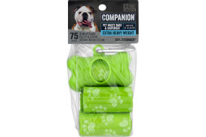 Companion Pet Waste Bags & Dispenser Extra Heavy Weight - 75 CT