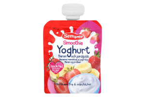 Пюре для детей от 6 месяцев фруктовое Банан-клубника с йогуртом Smoothie Yoghurt Semper д/п 90г