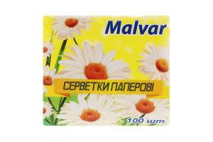 Серветки паперові білі Malvar 100шт