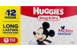 Huggies Snug & Dry Diapers Mickey Designs Size 4 - 112 CT