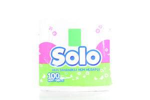 Салфетки бумажные столовые белые Solo 100шт