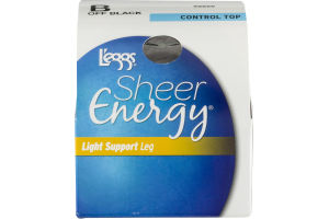 L'eggs Sheer Energy Light Support Leg Control Top B Off Black