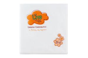 Салфетки бумажные 2-слойные белые 330х330мм Lito 25шт