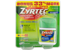 Zyrtec Allergy Tabs 10 mg - 40 CT