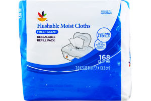 Ahold Flushable Moist Cloths Fresh Scent Resealable Refill Pack - 168 CT