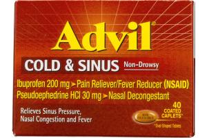 Advil Cold & Sinus Non-Drowsy Ibuprofen Coated Caplets 200mg - 40 CT