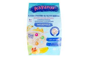 Каша молочна для дітей від 4мес рисово-кукурудзяна Яблуко-банан-абрикос Карапуз м/у 400г