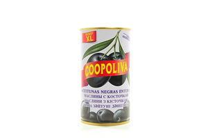 Маслины черные с косточками ж/б Coopoliva 350г