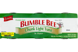 Bumble Bee Chunk Light Tuna In Water - 3 PK