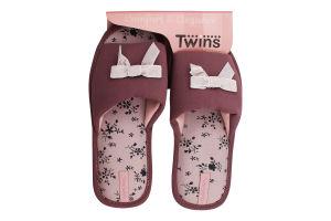 Тапочки открытые домашние женские №4579 Twins 40 purpul