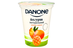 Йогурт 2.5% натуральный Ананас-Манго Danone ст 260г