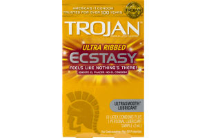 Trojan Ultra Ribbed Ecstasy Ultrasmooth Lubricant Latex Condoms - 10 CT