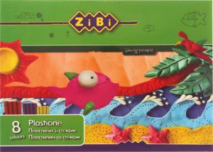 Пластилин со стеком 8 цветов №ZB.6202 Zibi 160г