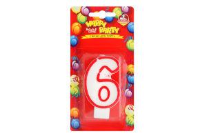 Свічка-цифра для торту глазурована 7.5см №P52-618/6 Happy Party Помічниця 1шт