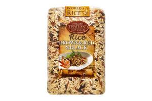 Смесь риса коричневого с красным и черным World`s Rice м/у 500г