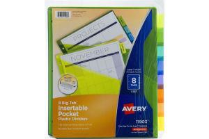 Avery Insertable Pocket Plastic Dividers 8 Big Tab - 8 CT