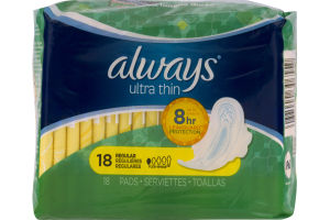Always Ultra Thin Pads Regular - 18 CT